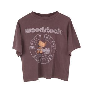 Woodstock Music & Art Fair August 1969 Rhinestone Logo Brown T-shirt