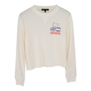 Woodstock Rainbow Logo Waffle Print Long Sleeve Cream T-Shirt