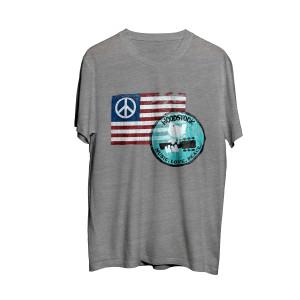 Woodstock Peace Flag Logo Grey T-Shirt