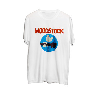 Woodstock Bird Guitar Circle Logo White T-Shirt