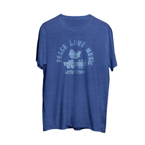 Woodstock Peace, Love and Music Blue T-Shirt