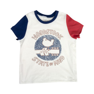 Woodstock State of Mind Bird Guitar White T-Shirt
