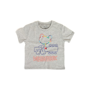 Woodstock Kids Grey Bird Guitar Red Lettering T-Shirt