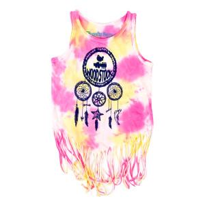 Kids Pink Tie Dye Dream Catcher Fringe Tank Top