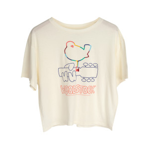 Woodstock Multicolored Bird Guitar Logo Cream Ladies Crop Top
