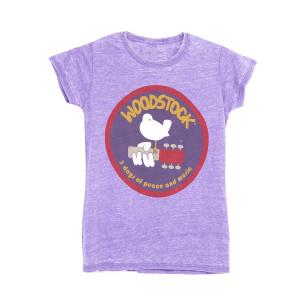 Woodstock Bird Guitar Heather Purple Ladies T-Shirt