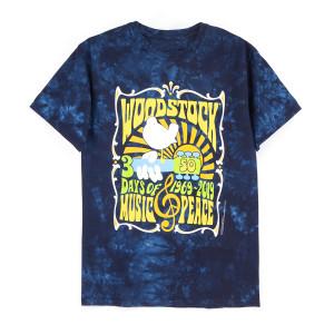 Woodstock 50 Years Dark Blue Tie Dye T-Shirt