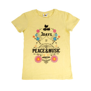 Woodstock 3 Days Of Peace And Music Yellow Flower Logo T-Shirt