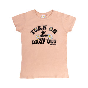 """Woodstock """"Turn On, Tune In, Drop Out"""" Pink T-Shirt"""