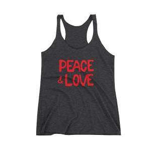 Peace & Love Charcoal Racer Tank