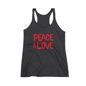 Peace & Love Charcoal Racer Tank