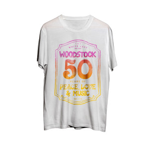 Woodstock 50 Years Of Peace Love and Music Sign Logo White T-Shirt