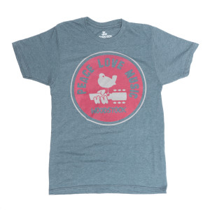 Woodstock Peace Love and Music Grey Tee