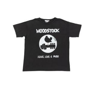 Woodstock Logo Casual Black T-Shirt
