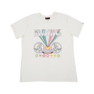 Woodstock Logo & Peace Sign Relaxed White T-Shirt