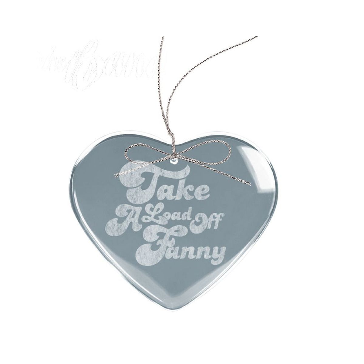 Fanny Heart Laser-Etched Glass Ornament