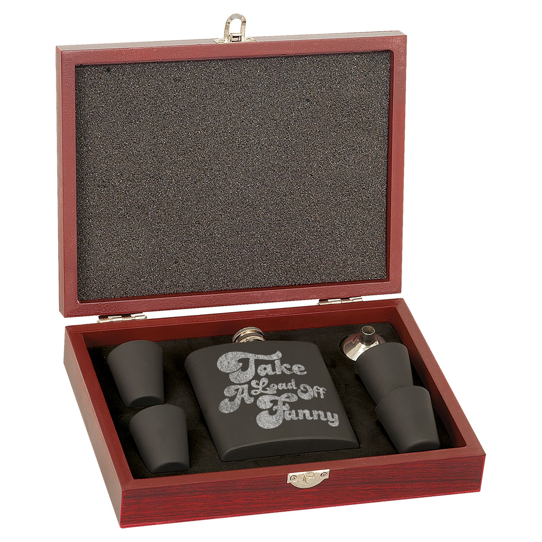 Take A Load Off Fanny Laser Engraved Flask Set In Wooden Box