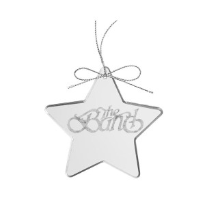 Curled Logo Star Laser-Etched Glass Ornament