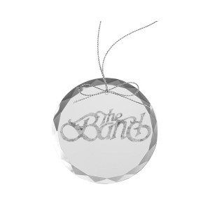 Curled Logo Round Laser-Etched Glass Ornament
