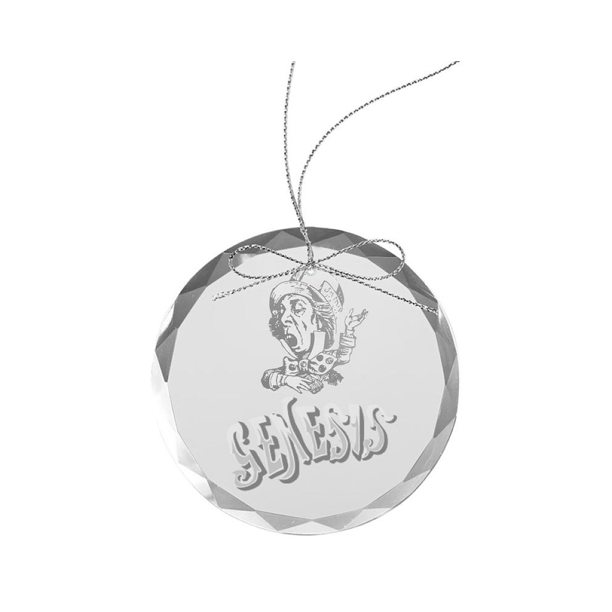 Mad Hatter Round Laser-Etched Glass Ornament