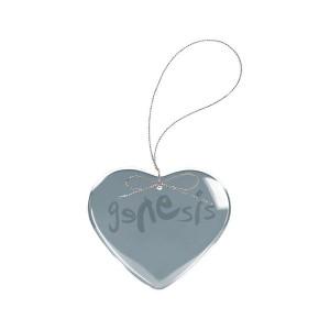 Modern Logo Heart Laser-Etched Glass Ornament