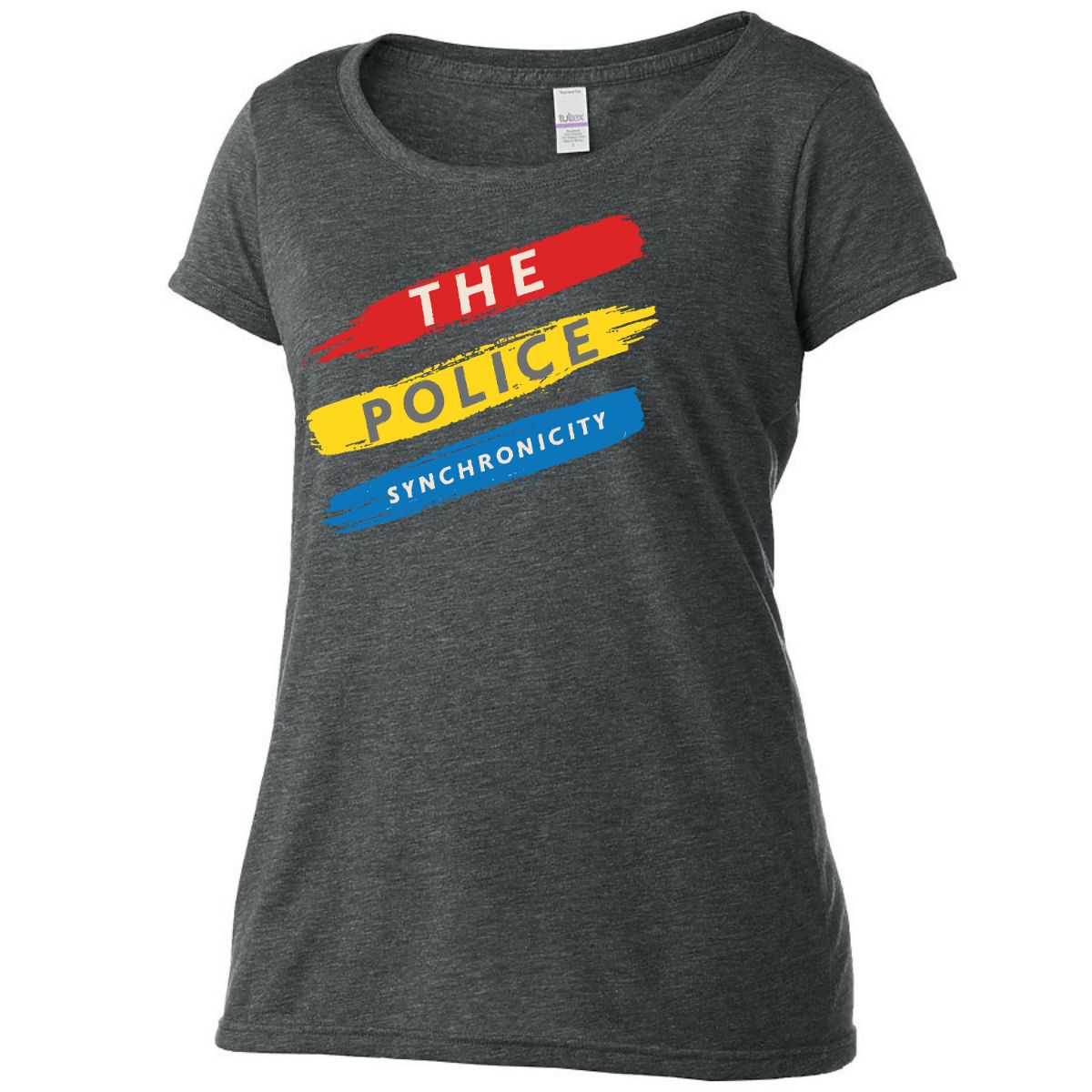 Diagonal Synchronicity Stripes Scoop Neck T-Shirt