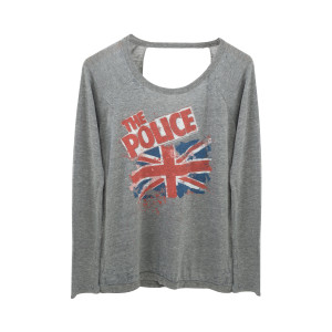The Police Ladies Destroyed Union Jack Crewneck Sweatshirt