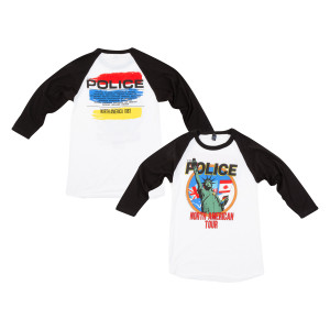 The Police North American Tour 1983 Statue Of Liberty/Flags White/Black Raglan