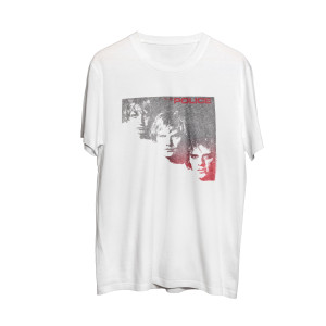The Police Trio of Faces Red Logo White T-Shirt