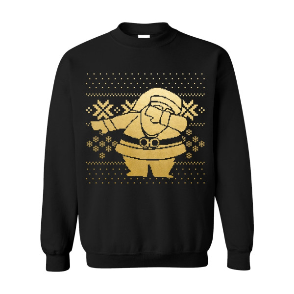 Black Gold Dipped Dabbing Santa Black Sweater  cd782a3dd