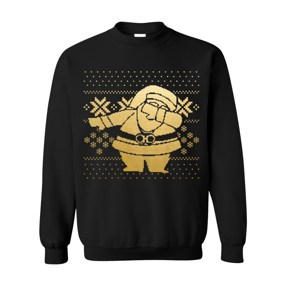 Black Gold Dipped Dabbing Santa Black Sweater