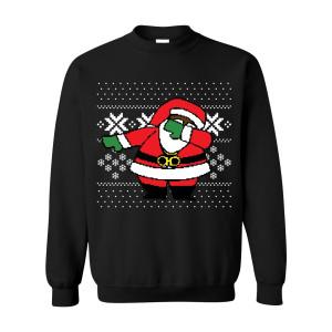 Classic Dabbing Black Santa Ugly Black Sweater