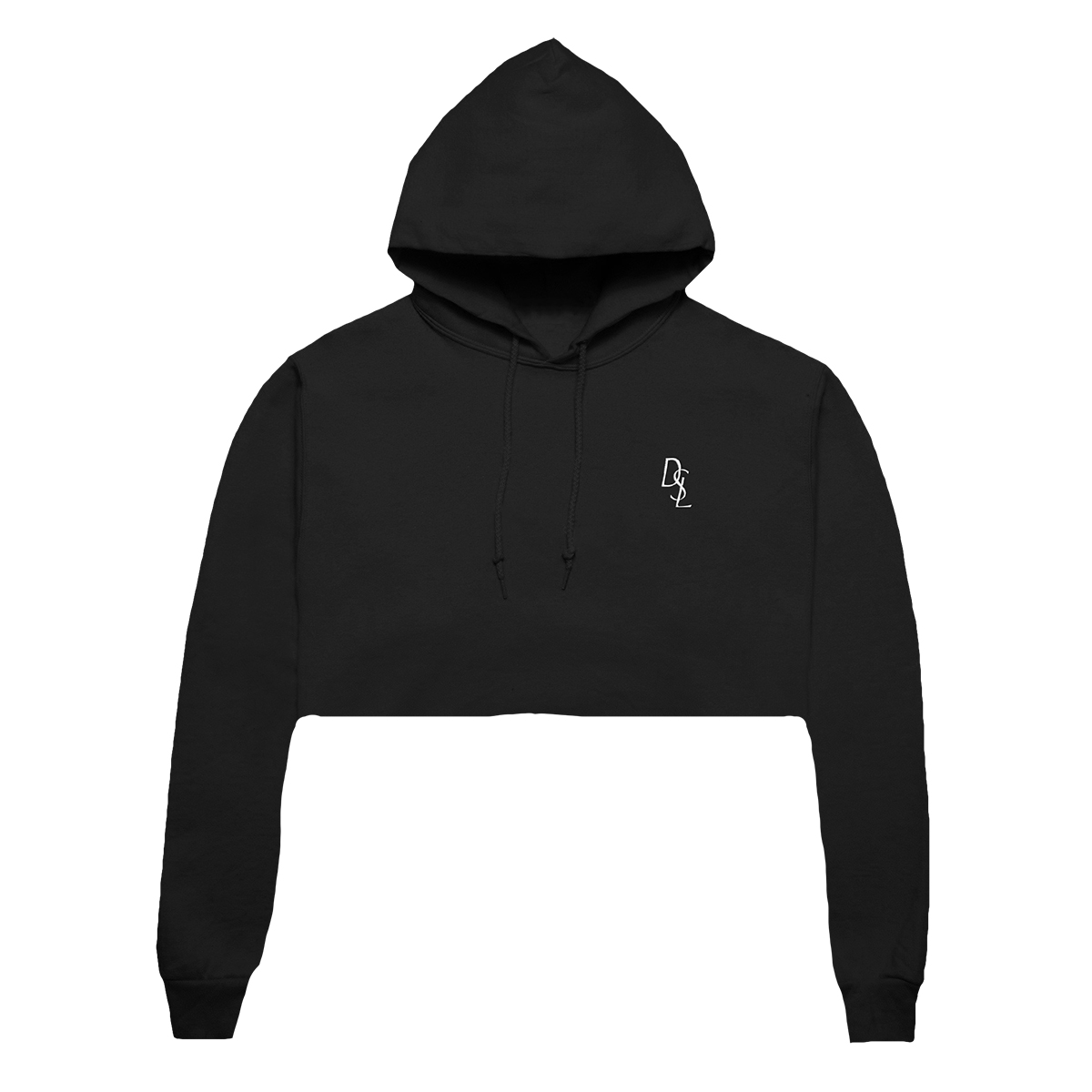 DSL Embroidered Crop Hoodie [Black/White]