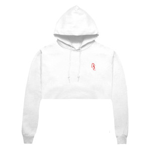 DSL Embroidered Crop Hoodie [White/Red]