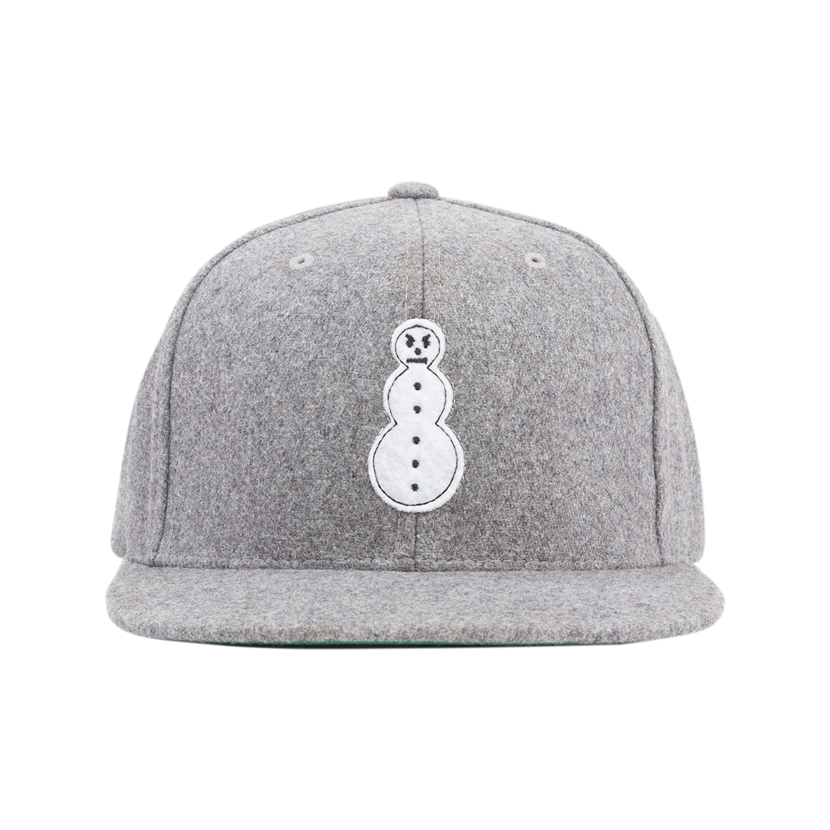 Snowman Melton Wool Snapback - Heather Grey