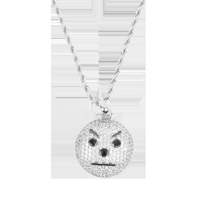 Snowman Emoji Pendant and Chain (White Gold)