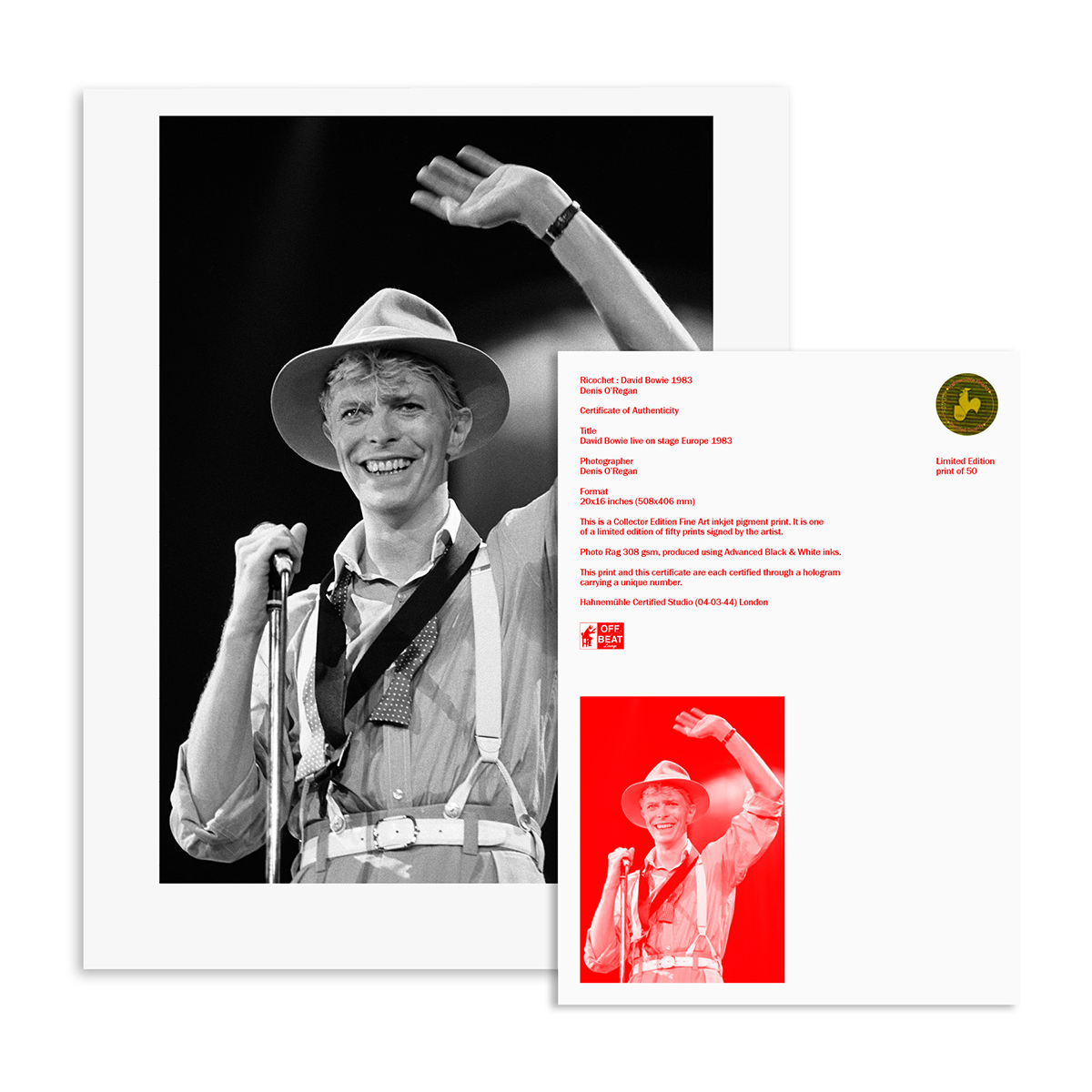 'RICOCHET : DAVID BOWIE 1983' SET OF THREE LIMITED EDITION FINE ART BLACK & WHITE PRINTS (LIMITED RELEASE)