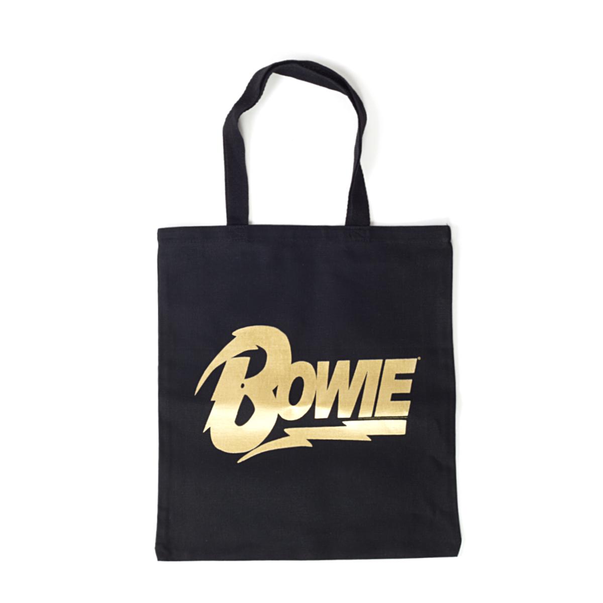 David Bowie Gold Bowie Text Black Tote Bag