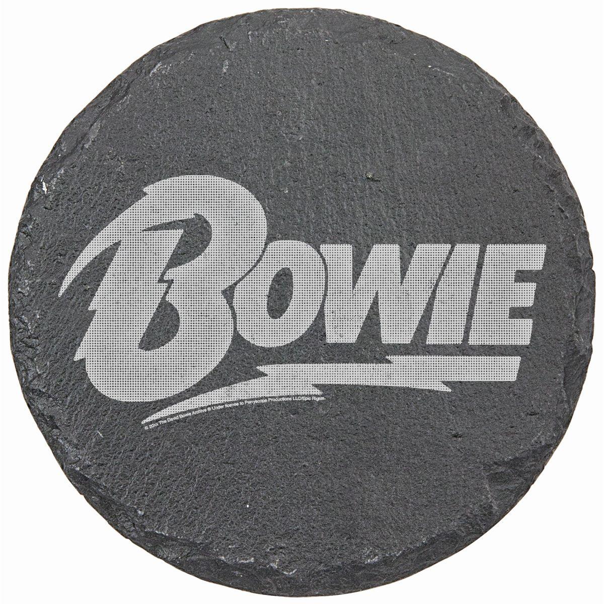 Bowie Logo Laser Engraved Round Slate Coaster (set of 4)