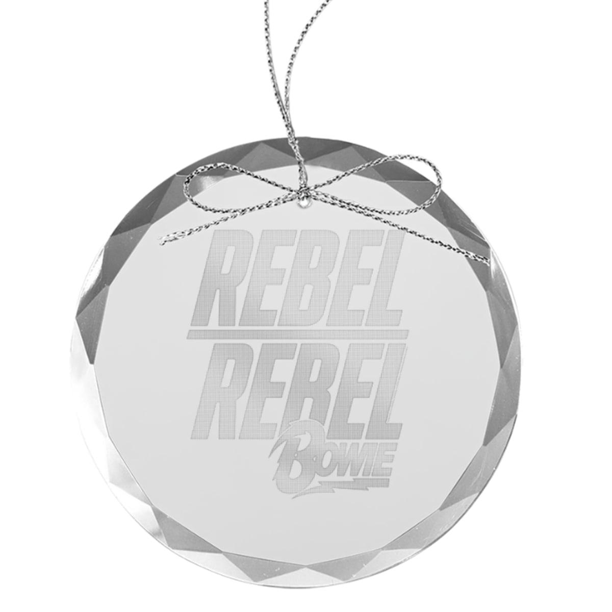 Rebel Rebel Round Laser-Etched Glass Ornament