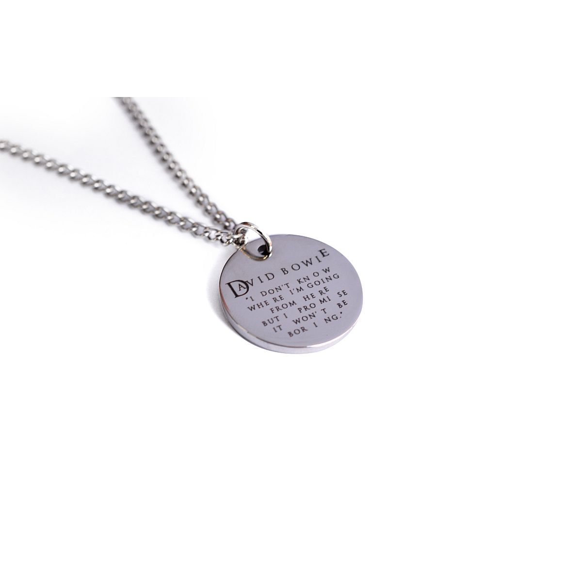 "David Bowie ""I Don't Know Where I'm Going From Here"" Quote Necklace"