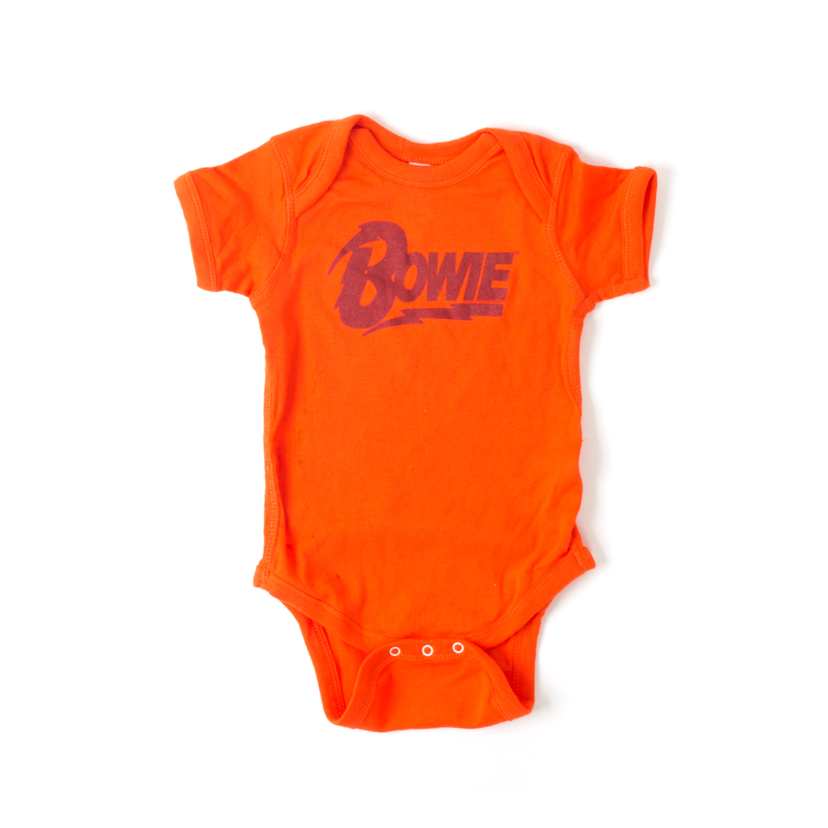 David Bowie Black Bowie Text Orange Onesie