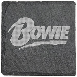 Bowie Logo Laser Engraved Square Slate Coaster (set of 4)