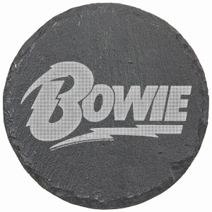 Bowie Logo Laser Engraved Round Slate Coaster (set of 4)