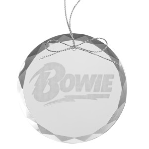 Bowie Round Laser-Etched Glass Ornament