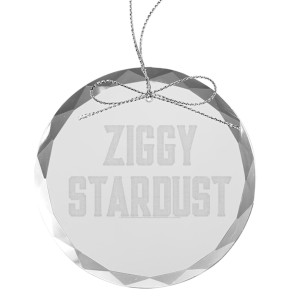 Ziggy Stardust Round Laser-Etched Glass Ornament