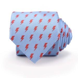 David Bowie Light Blue All Over Bolt Tie