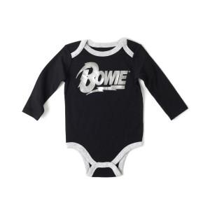 David Bowie Silver Bowie Black Onesie