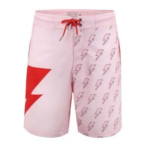 David Bowie Light Pink Bolt Board Shorts