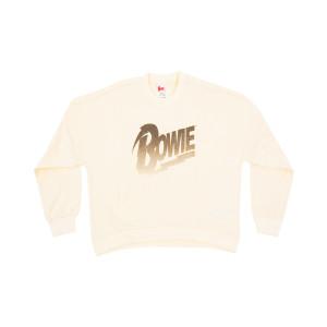 Bowie Lightning Logo Women's White Crewneck Sweatshirt